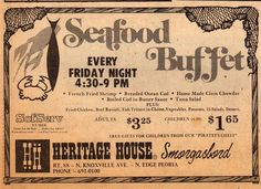 Heritage House ad from Nov. Trivia: Salty Sam (Captain Jinks show) was a manager at The Heritage House (his real name was George Baseleon). Pekin Illinois, Norman Rockwell Paintings, Trivia, Growing Up, 1960s, Childhood, Names, Restaurant, Memories