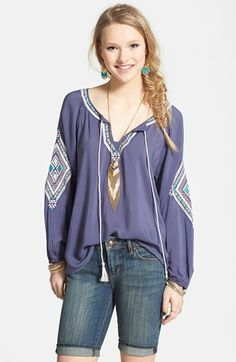 Angie Embroidered Peasant Top (Juniors) available at #Nordstrom