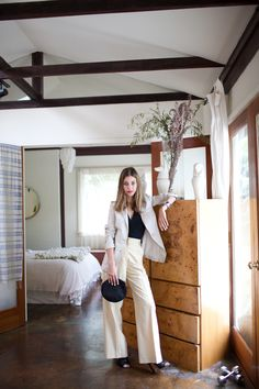 Sophie Buhai in linen and wool mix slouch