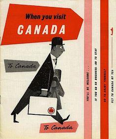 When you visit Canada - vintage travel brochure, Retro Illustration, Illustrations, Vintage Advertisements, Vintage Ads, Vintage Graphic, Vintage Airline, Retro Advertising, Vintage Luggage, Vintage Ephemera