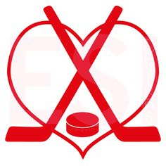 Hockey Sticks, puck with heart. Digital cutting files for the Cricut Explore and silhouette machines. www.esidesigns.com