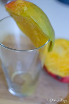 Use a water glass to peel and cut mango!