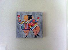Mijn schilderijtje nagemaakt van de dikke dames