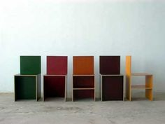 Donal Judd, Chairs #84/5, Finland Color Plywood, Image courtesy the Judd Foundation