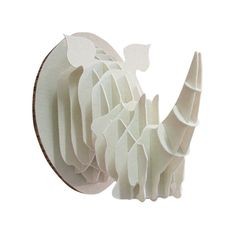 HEAD ON DESIGN | Paperboard Rhino Trophy Head in White - Homeware - 5rooms.com