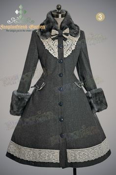 Classical Elegant Lolita Revers Embroidery Antique Embrodiery Yoke Warm Wool Coat Fur