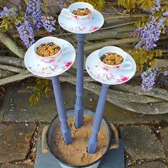 teacup bird feeder - #DIY home #decoration ideas