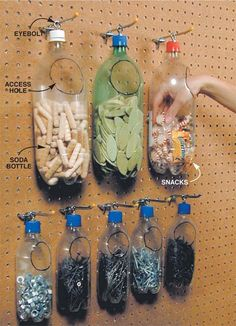 Recycled plastic bottles make for Space-Saving & Cheap Storage organization garage Small Shop Tips: Sawhorse, Space-Saving & Cheap Storage Cheap Storage, Garage Storage, Storage Hacks, Pegboard Garage, Organized Garage, Craft Storage, Basement Storage, Pegboard Craft Room, Garage Paint