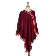 Wholesale red soft denim poncho fringe Acrylic One fits most