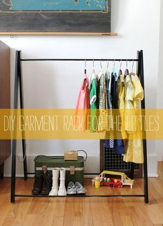 DIY children's garment rack from the lovely Smile and Wave. via: http://smileandwave.typepad.com/blog/2012/04/my-entry-1.html