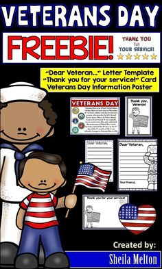 Veterans Day Freebie Dear Veteran Letter Template Veterans Day is November Use this Veterans Day Freebie to have your students write a thank you letter to a veteran who may have visited your classroom. Several versions included. Hands On Activities, Literacy Activities, Letters To Veterans, Veterans Day Coloring Page, Veterans Day Thank You, Sheila, Social Studies Classroom, Information Poster, Thank You Letter