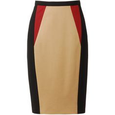 JASON WU Colour Blocked Techno Jersey Pencil Skirt ($490) ❤ liked on Polyvore