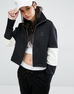 Reebok Classics Logo High Neck Tracksuit Jacket In Black