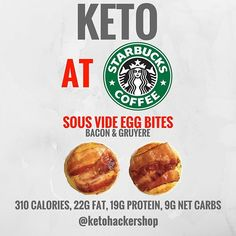 KETO AT STARBUCKS So you're headed to Starbucks but want to order something to keep it keto? ORDER Sous Vide Egg Bites: by ketohackershop Healthy Protein Snacks, Diabetic Snacks, Healthy Snacks For Diabetics, Keto Snacks, Healthy Foods, Keto Fast Food, Keto Food List, Low Carb Keto, Low Carb Recipes