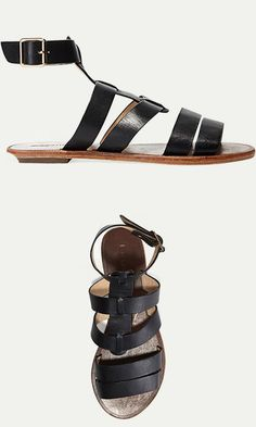 Known for its eclectic styles, L.A.-based independent label Matiko has gone back to basics this season in a good way. We love the simplicity of these leather ankle-strap sandals.