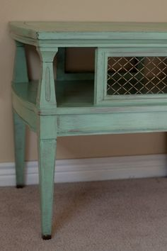 distressed green nightstand