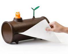 Un tronco para coger el papel de cocina - http://www.ocompras.com/cocina/un-tronco-para-coger-el-papel-de-cocina expendedor, papel de cocina, tronco