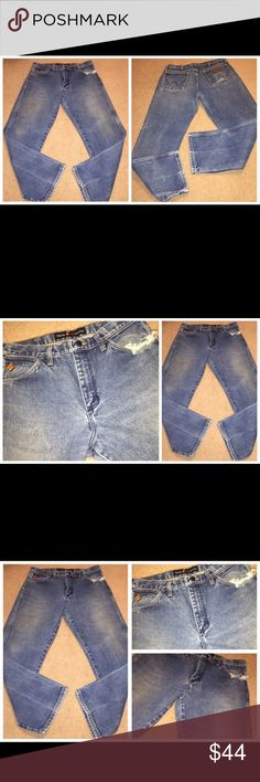 """WRANGLER FR """"Dirty"""" Distressed Denim Jeans 33 x 30 WRANGLER FR """"Dirty"""" Distressed Denim Jeans 33 x 30. Actual measurements are as follows – Waist line – 34 inches  Inseam – 30 inches   Please check pictures for distressed areas. These jeans are in excellent wearable condition. 042917–17 Wrangler Jeans Bootcut"""