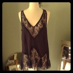 Intimately by Free People Lace Top Beautiful lace and purple color! I would keep but it doesn't fit me anymore. It's a size small but a medium could probably wear it too. It's full length and not a crop top. Snatch it up before it's gone, or make me an offer! Free People Tops