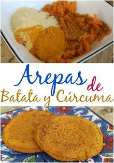 Arepas Fit de Batata Dulce y Cúrcuma | arepasfit.com Veggie Recipes, Baby Food Recipes, Easy Dinner Recipes, My Recipes, Easy Meals, I Love Food, Good Food, Yummy Food, Delicious Vegan Recipes