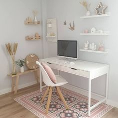 Every Monday around here we start with a home office inspiration. office ideas for two Bedroom Decor For Teen Girls, Room Ideas Bedroom, Teen Room Decor, Small Room Bedroom, Teen Rooms Girls, Teen Bedroom Decorations, White Desk Bedroom, Ikea Girls Bedroom, Bedroom Office Combo