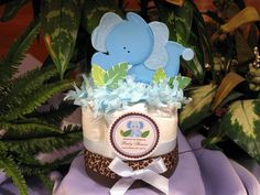 BLUE ELEPHANT mini diaper cake centerpieces - jungle safari baby shower favors - http://www.babyshower-decorations.com/blue-elephant-mini-diaper-cake-centerpieces-jungle-safari-baby-shower-favors.html