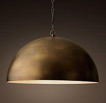 Antiqued Metal Dome Pendant - Vintage Brass