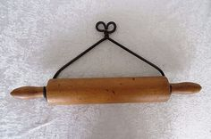 Hand Forged Iron Hanger & Wooden Rolling Pin Vintage Kitchen Utensils Tools