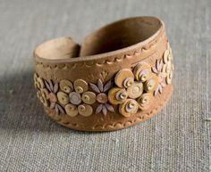Bracelet made of birch bark in the original technique. by SiberianLights on Etsy