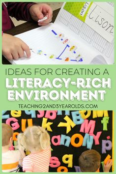 Expand preschool literacy to all areas of your classroom with these easy tips and activities! #preschool #literacy #classroom #teachers #alphabet #reading #environment #teaching2and3yearolds Preschool Centers, Preschool Literacy, Early Literacy, Toddler Preschool, Lower Case Letters, Hidden Letters, Time Planner, Foam Letters, Teaching The Alphabet