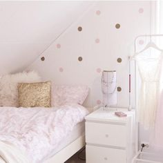 Gold Polka Dot Decals Spot Decal Home decor Vinyl Wall Polka Dot Walls, Polka Dot Wall Decals, Gold Polka Dots, Nursery Wall Decals, Vinyl Wall Stickers, Pastel Decor, Confetti Wall, Closet Layout, Pink Room