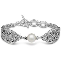 Silver Spoon English Lace With Pearl Bracelet ($89) ❤ liked on Polyvore featuring jewelry, bracelets, silver pearl jewelry, pearl jewellery, lace jewelry, pearl jewelry and pearl bangles