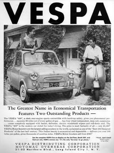 I didn't know that Vespa made cars at one point. Consulting Ye Olde Wikipedia, I see that Piaggio is the company behind them; the car was made from (the scooter, developed during WWII, has been marketed since Moto Scooter, Scooter Shop, Best Scooter, Piaggio Vespa, Lambretta Scooter, Vespa Scooters, Vespa 400, Vespa Vintage, Vintage Auto