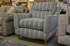 Ashley Manor Farrow Armchair Large Chair Duck Egg Stripe Fabric Brand New