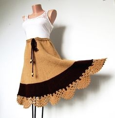Skirt handknit wool lace crocheted brown beige aline by Lona22004