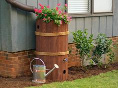 get step by step instructions for creating a rain barrel from a recycled food - Decorative Rain Barrels