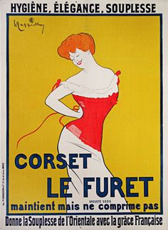 Corset Le Furet original vintage turn of the century poster by Leonetto Cappiello from 1901 France. Advertising corset company.