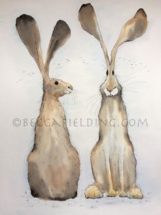 Two Hares watercolour