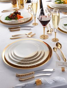 gold and white place settings
