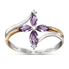 The Trinity Amethyst And Diamond Ring