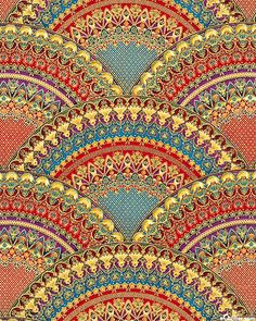 Florentine 3 - Radiant Fans - Scarlet/Gold by Peggy Toole for Robert Kaufman Fabrics