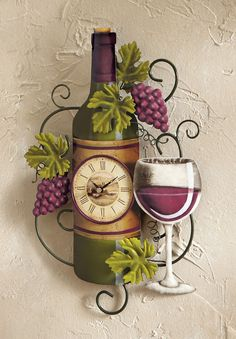 Wine Bottle Wall Clock Grapes Vino Country Kitchen Bar Lounge Home Decor New