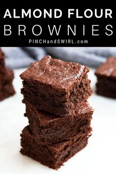 An easy recipe for thick, fudgy Almond Flour Brownies! Pro tips for getting time perfect every time! Naturally gluten free with options for making them paleo or vegan. Healthy No Bake Cookies, Easy Cookie Recipes, Healthy Treats, Healthy Baking, Easy Desserts, Delicious Desserts, Dessert Recipes, Make Almond Flour, Almond Flour Brownies