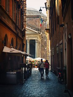 Love this moment, when you cant wait to see what's around the corner. Pantheon glimpse, Roma. by redcipolla