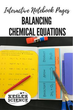 Remember the definitions of reactant and product with this chemical equations foldable. Practice balancing chemical equations with this accordion worksheet. Perfect for taking notes during a chemistry lesson or introductory class. Turn science notebooks into a fun, interactive, hands-on learning experience for your middle school or high school students! Grades 5th 6th 7th 8th 9th 10th Teaching Chemistry, Chemistry Lessons, Science Chemistry, Physical Science, Science Lessons, Science Experiments, Science Ideas, Chemistry Notes, Biology Teacher