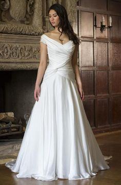 V-Neck A-Line Wedding Dress  with Dropped Waist in Satin. Bridal Gown Style Number:32999203