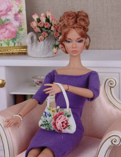 1:6 scale petit point purse for Barbie & fashion by HankieChic
