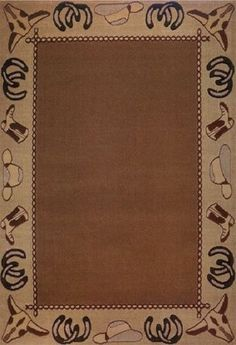 Country Western Cowboy Rustic Boots Cow Skulls Horse Shoes 4X6 Area Rug  Carpet