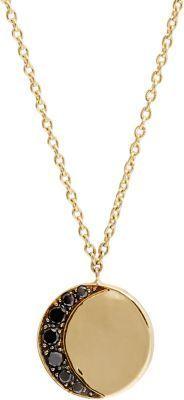 Pamela Love Fine Jewelry Black Diamond & Gold Moon Phase Pendant Necklace #necklace #jewellery #moon