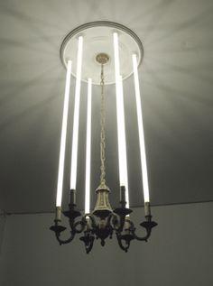 Fluorescent light chandelier / Stephane Vigny